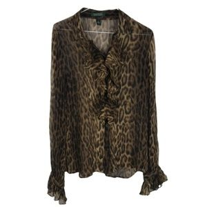 Lauren Ralph Lauren Silk Blouse Ruffle Leopard L